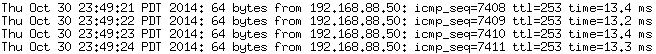 Ping results from log file