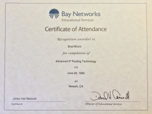 "My attendance ""cert"" for the Advanced IP class"